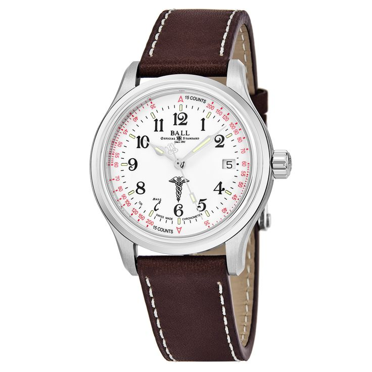 Ball Men's NM1038-L2CJ-WH 'Trainmaster' Dial Brown Strap Swiss Automatic Watch