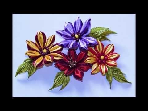 Цветок с полосатыми лепестками, канзаши, МК - YouTube