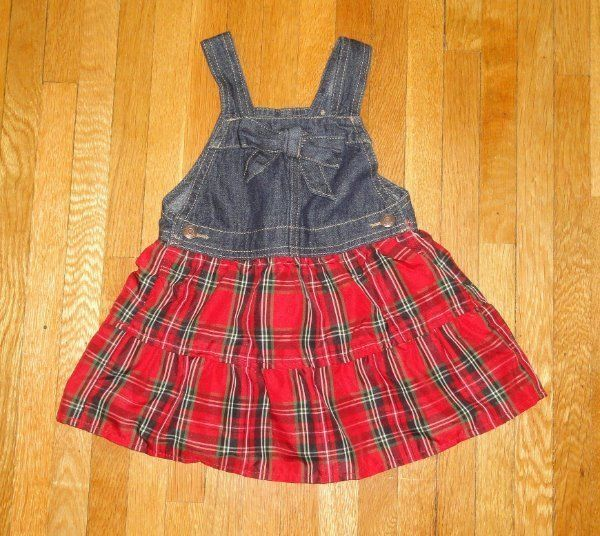 CHRISTMAS JUMPER DRESS PLAID OSHKOSH GIRLS SZ 24 MONTHS 24M MINT COND. #OshKoshBgosh #DressyEverydayHolidayPageantWedding