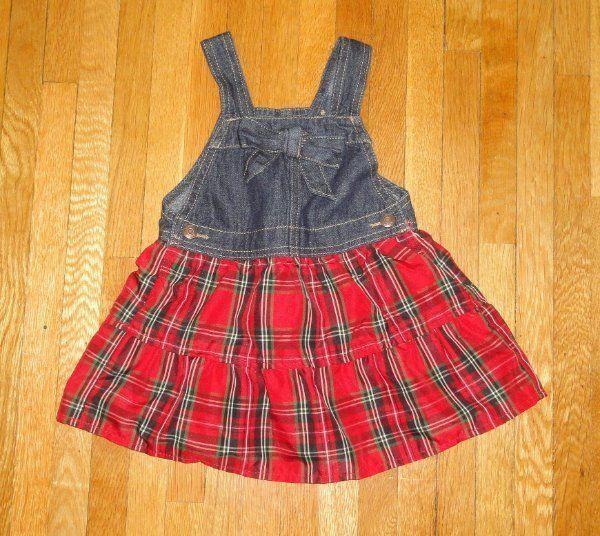 CHRISTMAS JUMPER DRESS PLAID OSHKOSH GIRLS SZ 24 MONTHS 24M MINT COND. #OshKoshBgosh #DressyEverydayHolidayPageantWedding