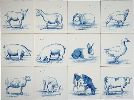 Farm animal tiles