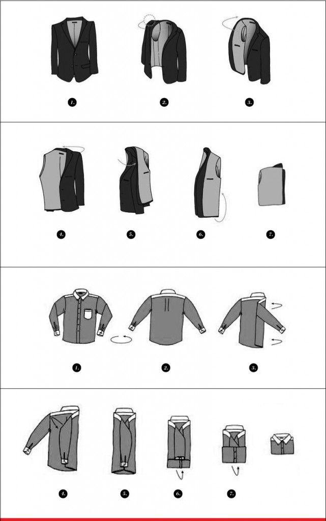 Aprende a doblar tus sacos y camisas para evitar arrugas en tus viajes.