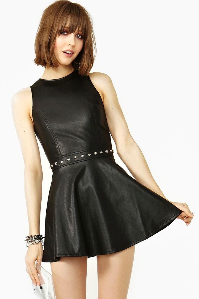 Black leather dress