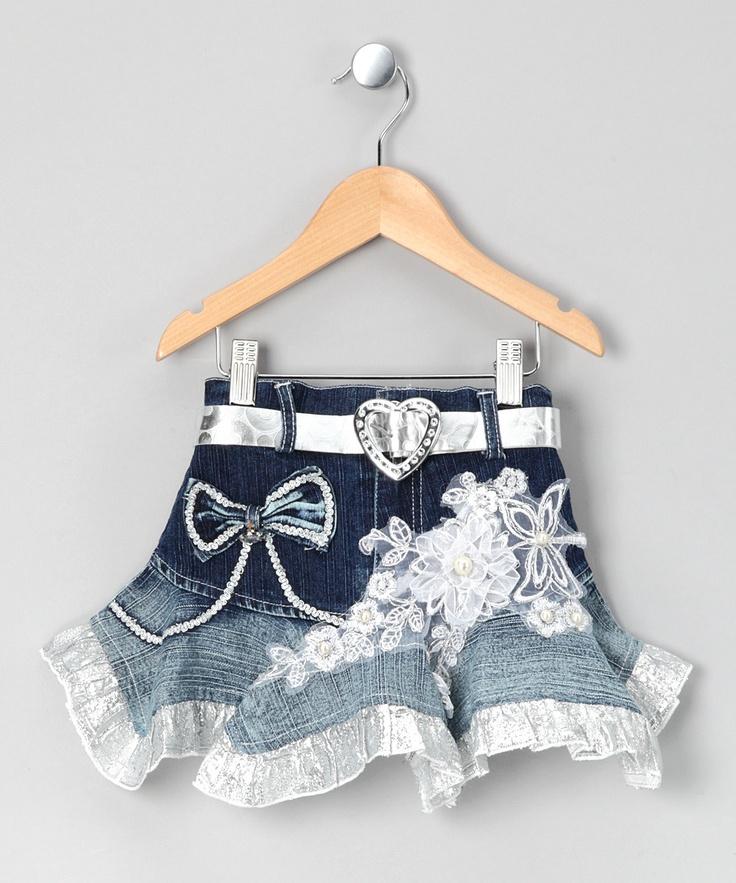 Silver & Denim Embroidered Ruffle Skirt - Toddler & Girls