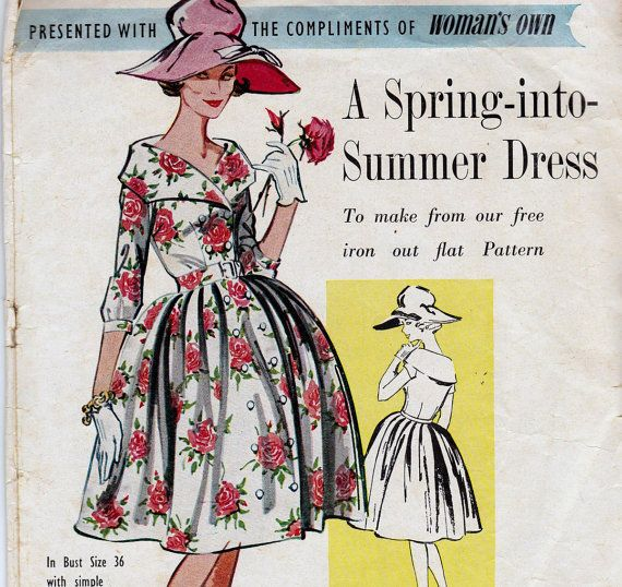 1950s Vintage Pattern Shawl Collar Dress by allthepreciousthings, $35.00