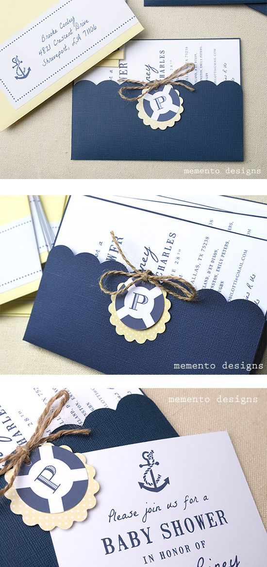 Nautical Baby Shower Invitation with twine, tags and pocket envelope by Memento Designs