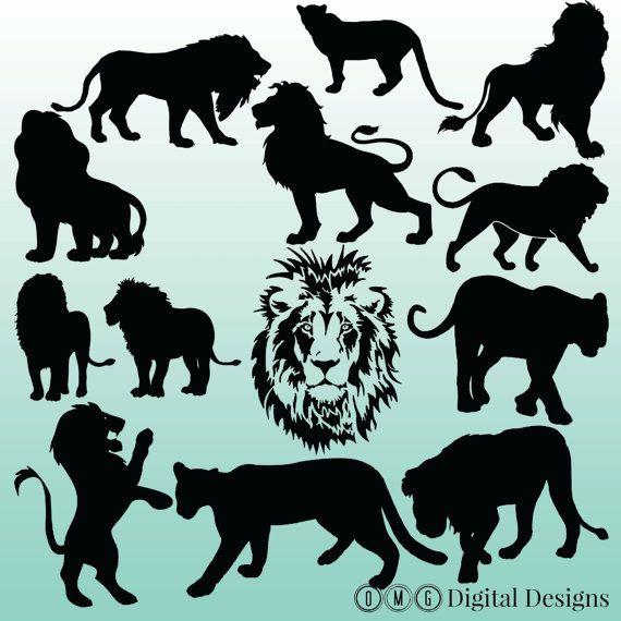 12 Lion Silhouette Digital Clipart Images, Clipart Design Elements, Instant Download, Black Silhouette Clip art
