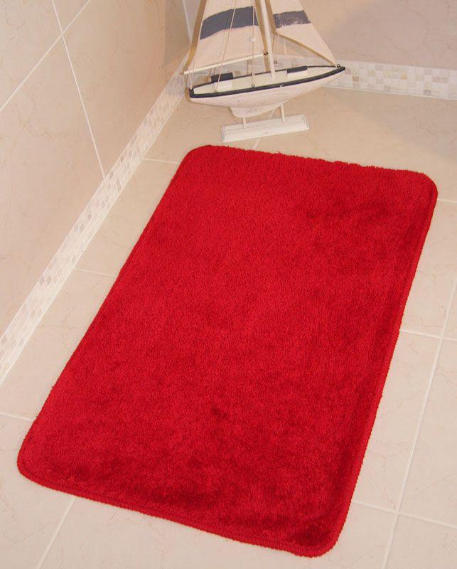 Red bathroom rug