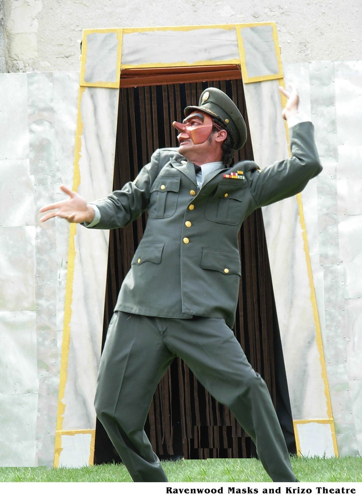 Capitano, Commedia Dell'Arte. Krizo Theatre and Ravenwood Masks