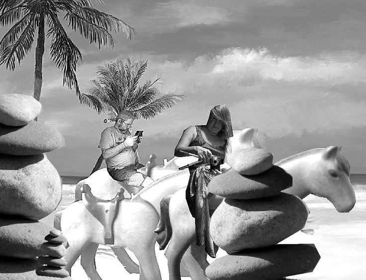 clip ART buddy and I riding on the beach