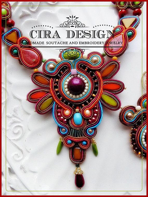 Soutache necklace statement fall colors in burgundy, mustard, brown, turquoise and orange
