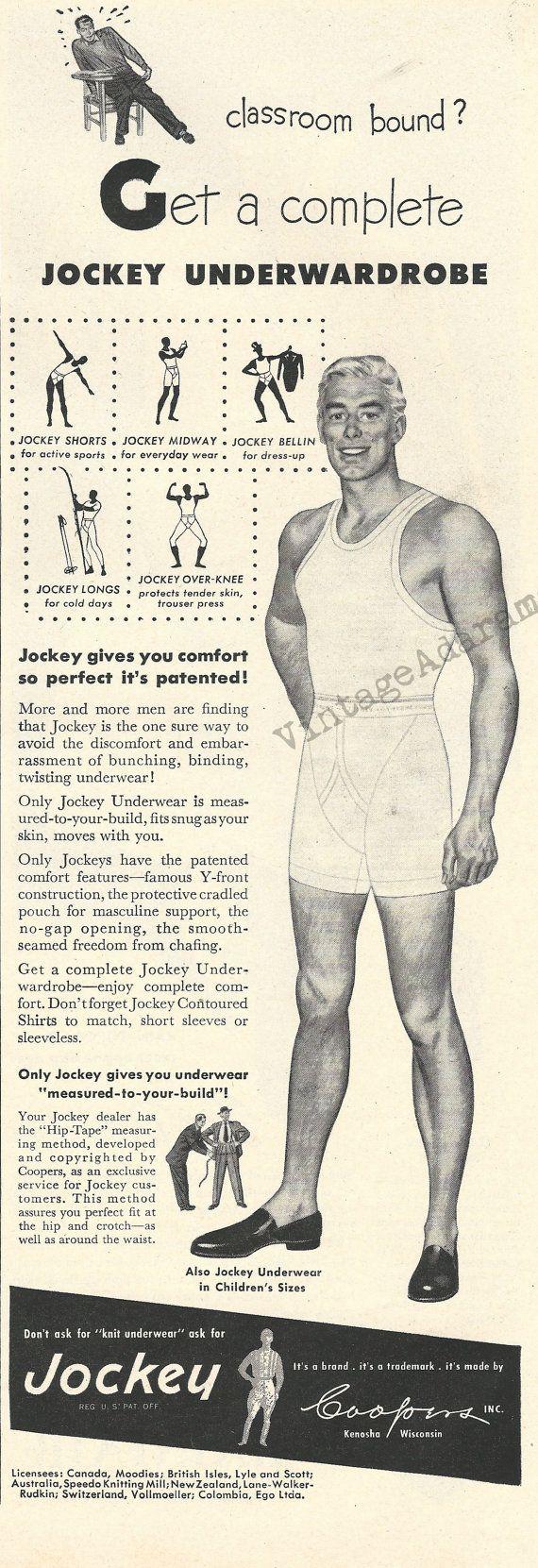 Jockey Men's Underwear Original 1948 Vintage Ad w/ Black & White Illustration of Man in Sleeveless Undershirt, Y-Front Briefs (and Shoes!)