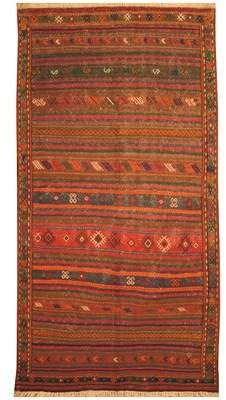 World Menagerie One-of-a-Kind Conn Handmade Kilim 5′ x 9'7 Wool Brown/Red Area Rug World Menagerie