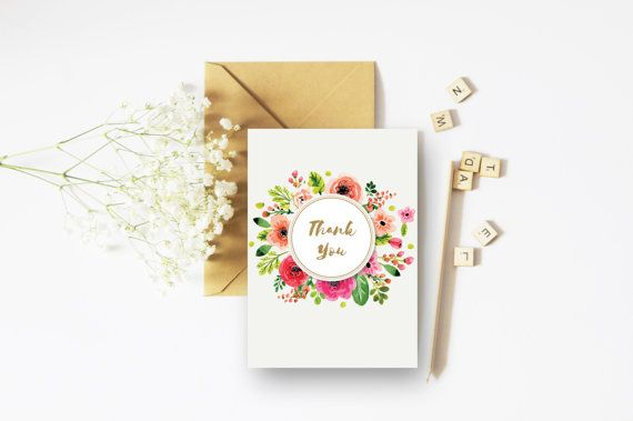 Thank You Gold Card - A6 Card - Floral Congratulations Card - Floral Cards - Gold Cards
