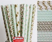 200 stücke Gemischt 4 Designs Mintgrün und Metallic Gold Themen Papierstrohe-Damast, Dot Vintage Hochzeit Neuheit Trinkhalme