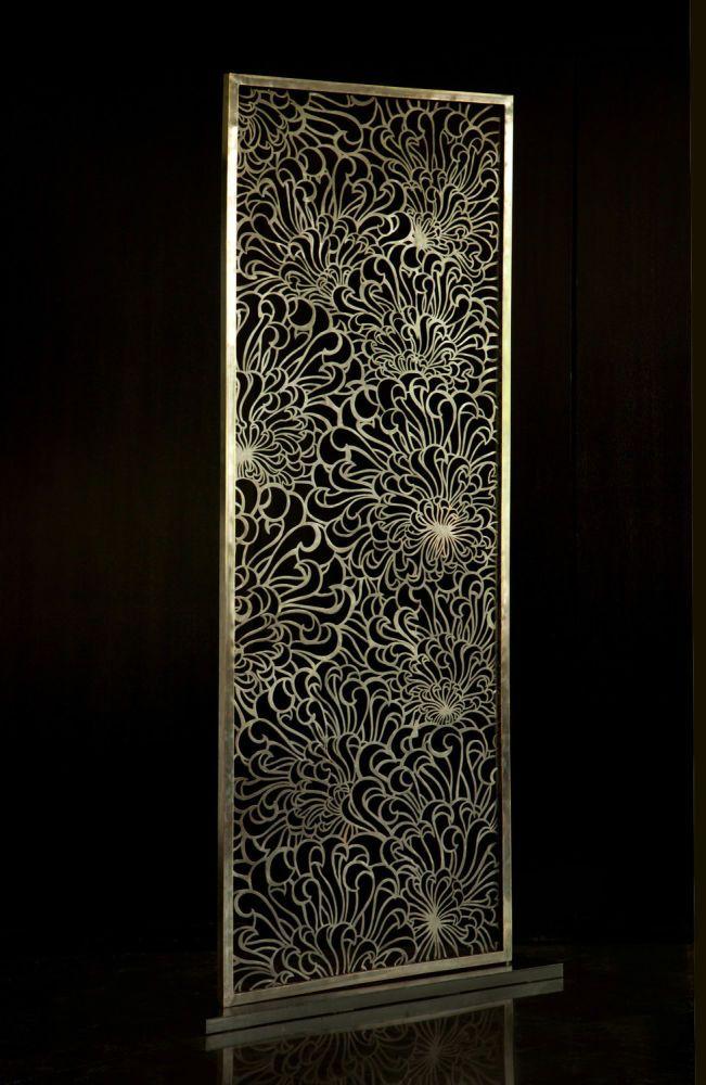 Chrysanthemum Screen - brass | Viya