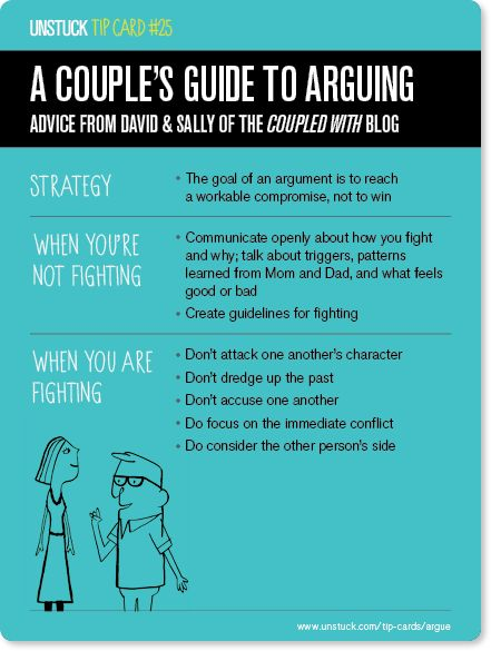 Unstuck Tip Card #25. Argument tips for couples also work for groups of people.