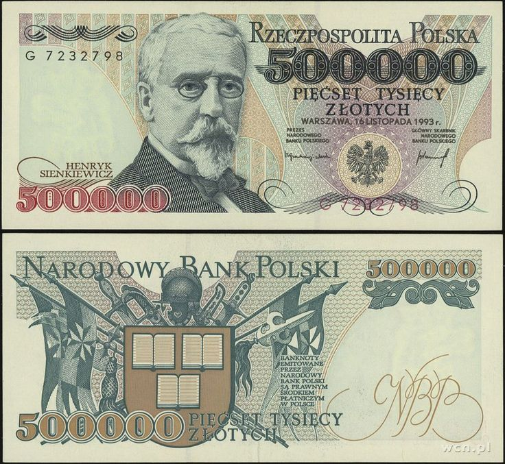 1990-1993 series Polish 500,000-złoty banknote, featuring Henryk Sienkiewicz and the coat of arms of Poland on the obverse side, and his trilogy on the reverse side.