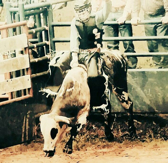 8 straight Great Rodeo Bull Riding photo sent by Elton Randall Gortney From New Boston Texas Team Cowboy Coffee Chew