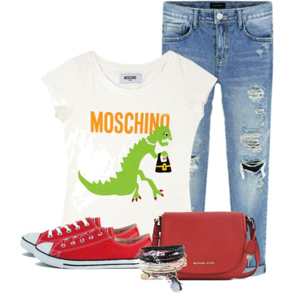 Casual Day by redchally on Polyvore featuring Moschino, Converse, Michael Kors, Domo Beads, rippedjeans and Tshirt