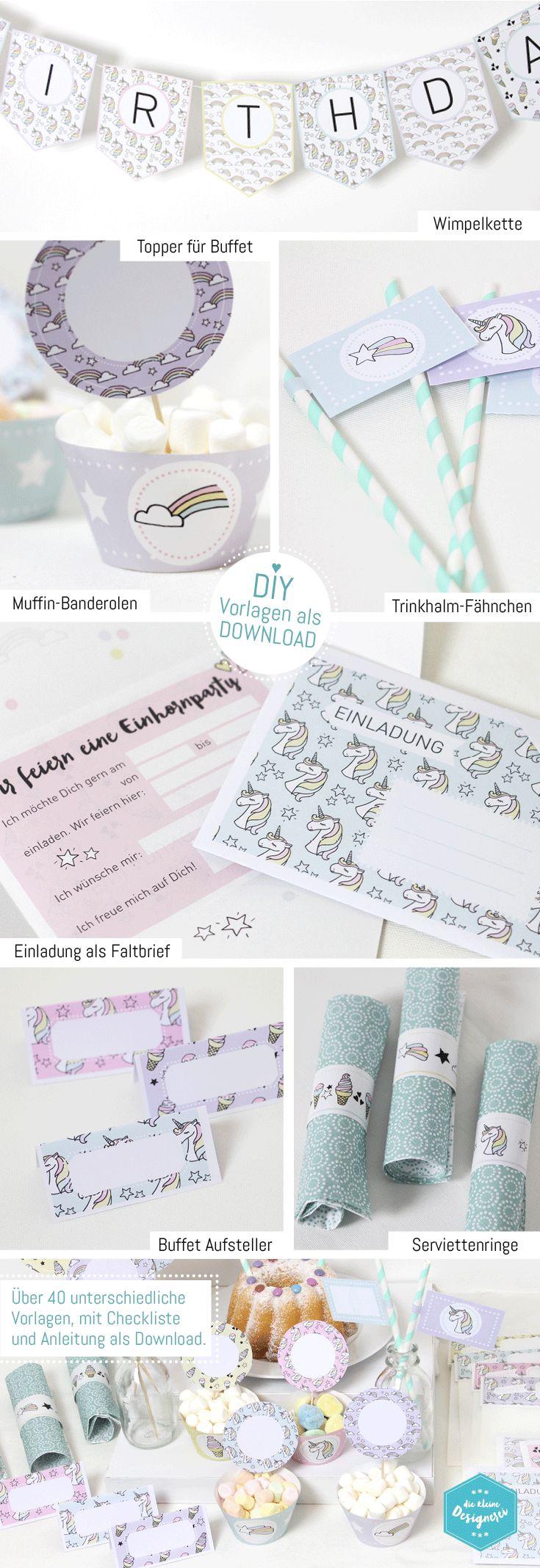 Einhorn DIY Deko Printables für Kindergeburtstag, download auf www.die-kleine-designerei.com