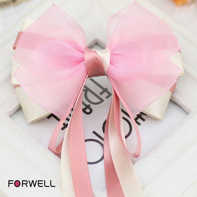Nueva llegada girls mujeres largo horquillas accesorios para el cabello de la cinta rosa de seda compuesto de hilo de arco cabeza de pescado clip de resorte clip headwear