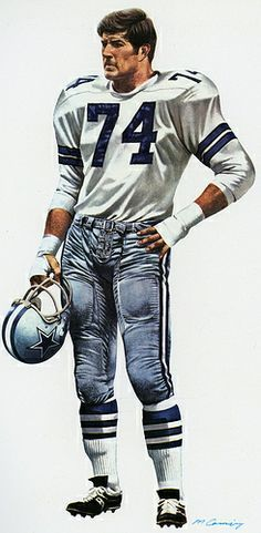 Dallas Cowboys Defensive Tackle Bob Lilly By Merv Corning.  Pro Football Journal Presents: NFL Art: Merv Corning