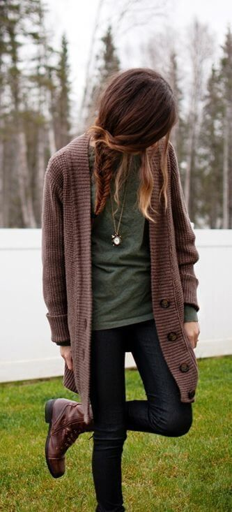 @roressclothes closet ideas #women fashion outfit #clothing style apparel brown cardigan, jeans, fall outfit 8