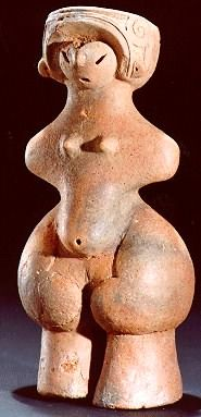 JOMON VENUS:3000-2000 BC, from Tanabatake Tokyo National Museum  This pregnant, nude dogu wears an elaborate headdress. Her form suggests, to many people, a mother goddess like those found in many other parts of the neolithic world.