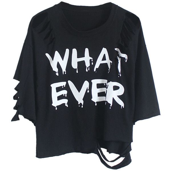 Choies Black Distressed Bat Sleeve Whatever T-shirt (£6.42) ❤ liked on Polyvore featuring tops, t-shirts, shirts, crop tops, black, ripped t shirt, torn shirt, black t shirt, torn t shirt and black shirt