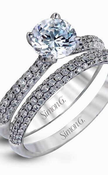 b24cea38d4755 18K White Gold Classic Engagement Ring Set - Caviar Collection | TAKI