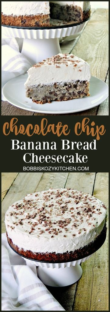 Two delicious desserts, in one place. Moist chocolate chip banana bread topped with a creamy, no-bake cheesecake from www.bobbiskozykitchen.com
