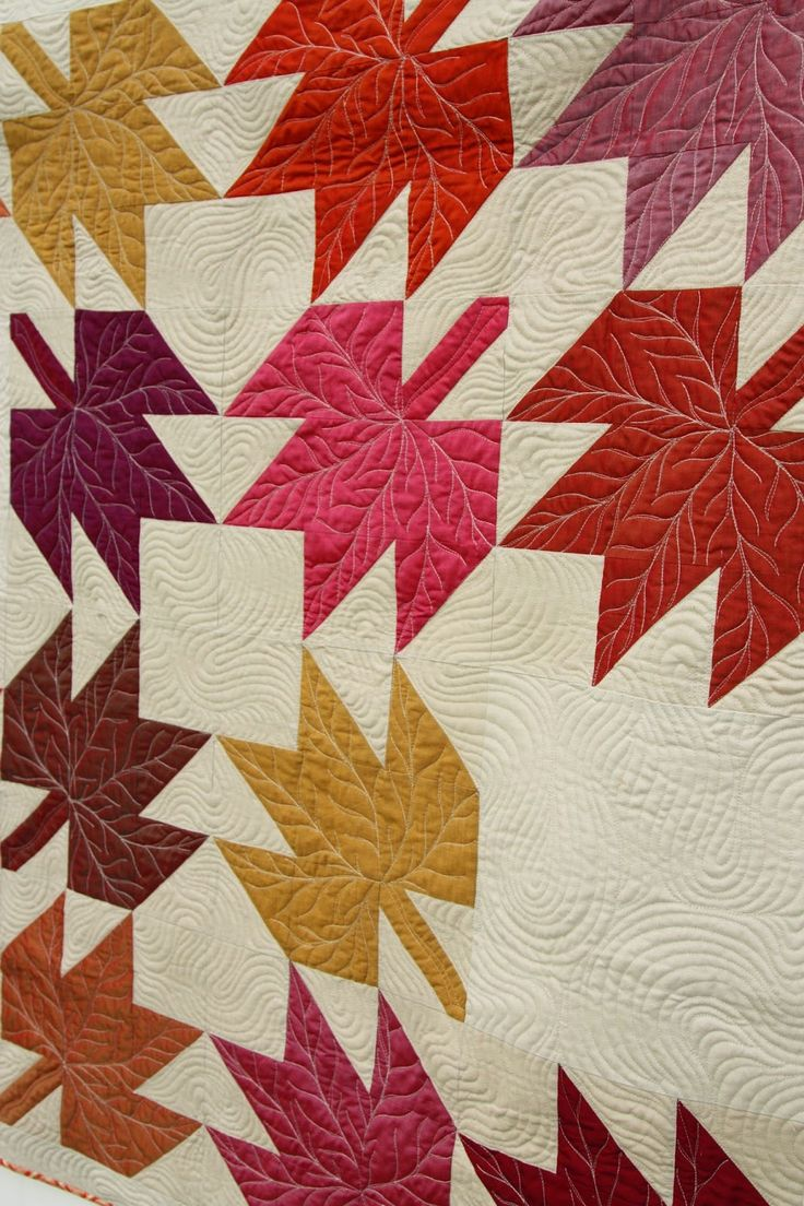 Quilt by Amy Smart | Diary of a Quilter.  The maple leaf blocks were decoratively quilted with veins.