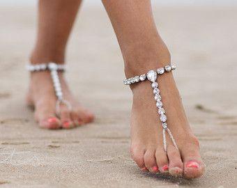 Sandalias pies descalzos, sandalias de boda de playa, joyería de los pies, tobillera, pulseras de tobillo, tobillera, regalo de la Dama de honor, zapatos de novia, Yoga de la playa /HALOKE/