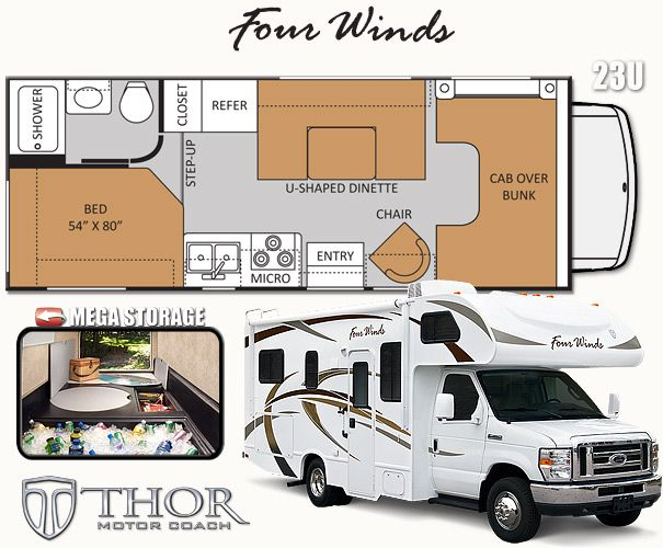 Four Winds 23U Class C Motorhomes by Thor Motor Coach - http://ThorMotorCoach.com