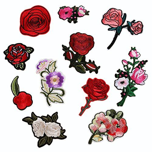 C-Pioneer 11pcs Flower Roses Embroidered Repair Patches I... amazon.com