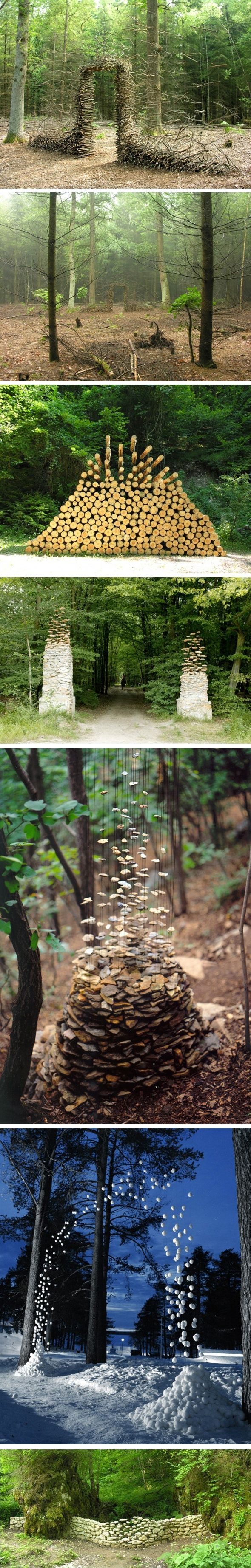 The German artist Cornelia Konrads creates hallucinating in situ installations in public spaces, parks and private gardens throughout the world. His work is often punctuated by the illusion of weightlessness, when stacked objects (branch, log, stone) seem to be hanging in the air, increasing the temporary nature of the facility.