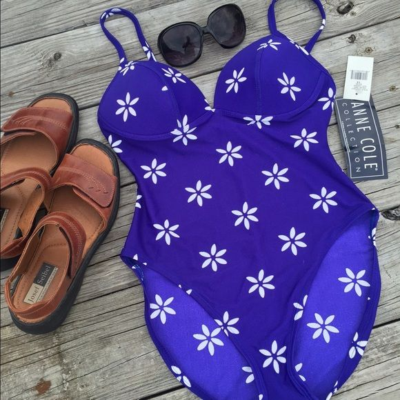 . Swim time. Tan time Summer  . HP Brand new with tags Anne Cole collection purplish blue one piece smoke free home ! Pls ask for more pics if you need them  Anne Cole Swim One Pieces