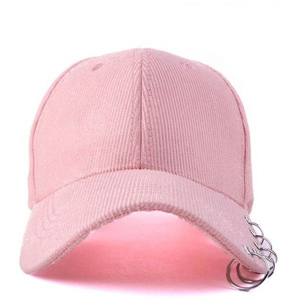 Circle Hoop Corduroy Baseball Hat Pink (£5.13) ❤ liked on Polyvore featuring accessories, hats, pink baseball hat, pink baseball cap, corduroy hat, corduroy baseball cap and ball cap