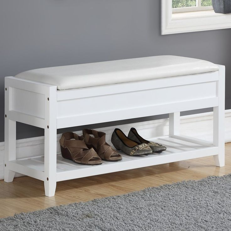 Perfect in the entryway, this Lambrecht Seating Bench with Shoe Storage provides a practical place to sit and is loaded with smart storage. Sit on the cushioned seats of this bench or lift to reveal open storage inside. A handy open shelf below is perfect for storing shoes, boxes, and more. The bench is constructed of wood frame and slatted shoe shelf with upholstery and a padded seat cushion. This storage bench has a transitional design that works with any decor and is available in finish…