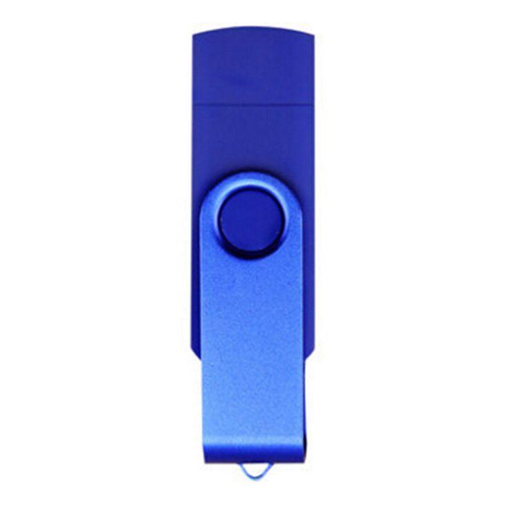 16GB Double Plug Cellphone/PC USB Storage Flash Drive Memory Stick/Disk Blue