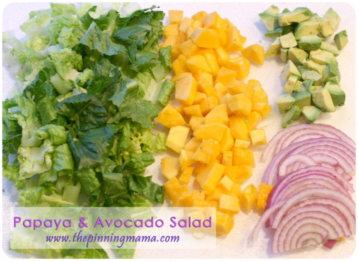 Papaya and Avocado Salad with Papaya Seed Dressing. www.thepinningmama.com