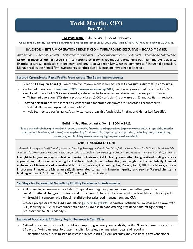 sample resume for cfo chief financial officer resume chief