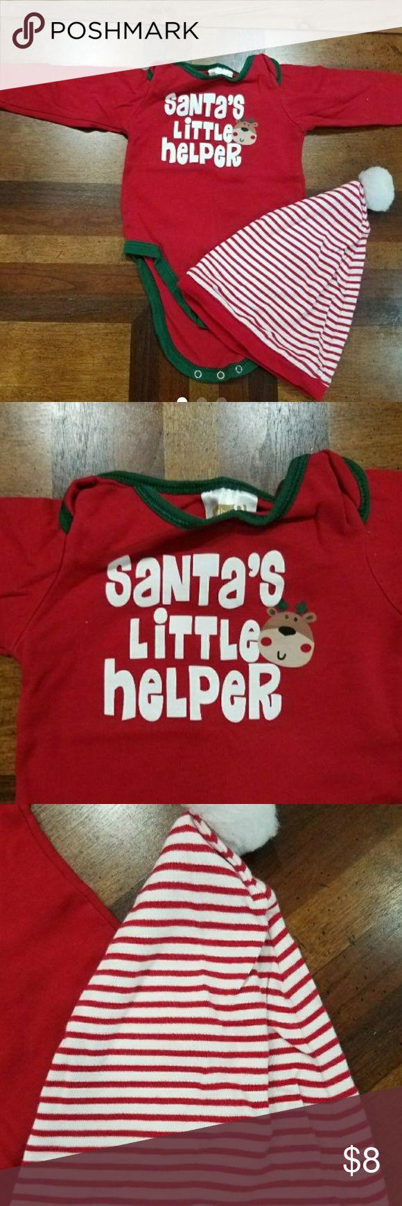 EUC Santas Little Helper LS Onesie and Hat EUC Santas Little Helper LS Christmas onesie with hat.  Size is 6-9 months. One Pieces Bodysuits