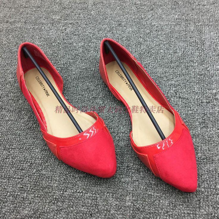 Оригинальные одиночные остроконечные туфли новые мягкое дно квартиры красные осенние ботинки с плоской обуви 41 43 42 большой размер обуви прилива - Taobao