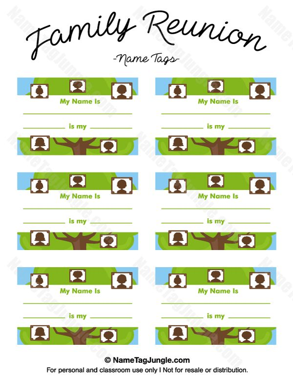 Free printable family reunion name tags with fields for your name and information on your relation to others at the reunion. The template can also be used for creating items like labels and place cards. Download the PDF at http://nametagjungle.com/name-tag/family-reunion/