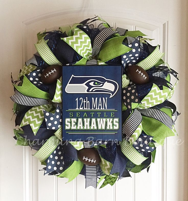 Seattle Seahawks Wreath, Seattle Seahawks, 12th Man, NFL Wreath, NFL Decor, Seattle Washington, Seattle Seahawks Decor, Football Wreath by CharmingBarnBoutique on Etsy