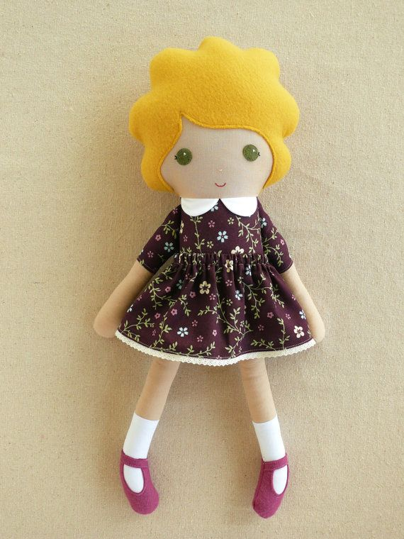 Fabric Doll Rag Doll Blond Girl in Plum Floral by rovingovine