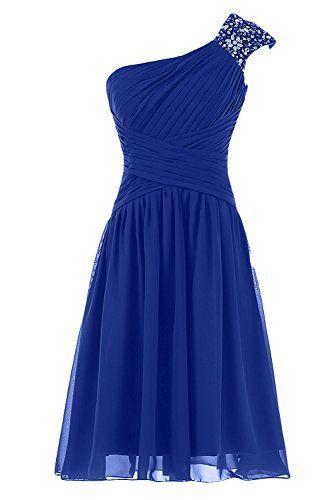 Lovely One Shoulder Blue Short Beaded Prom Dresses, Short Prom Dresses, Blue Prom Dresses 2