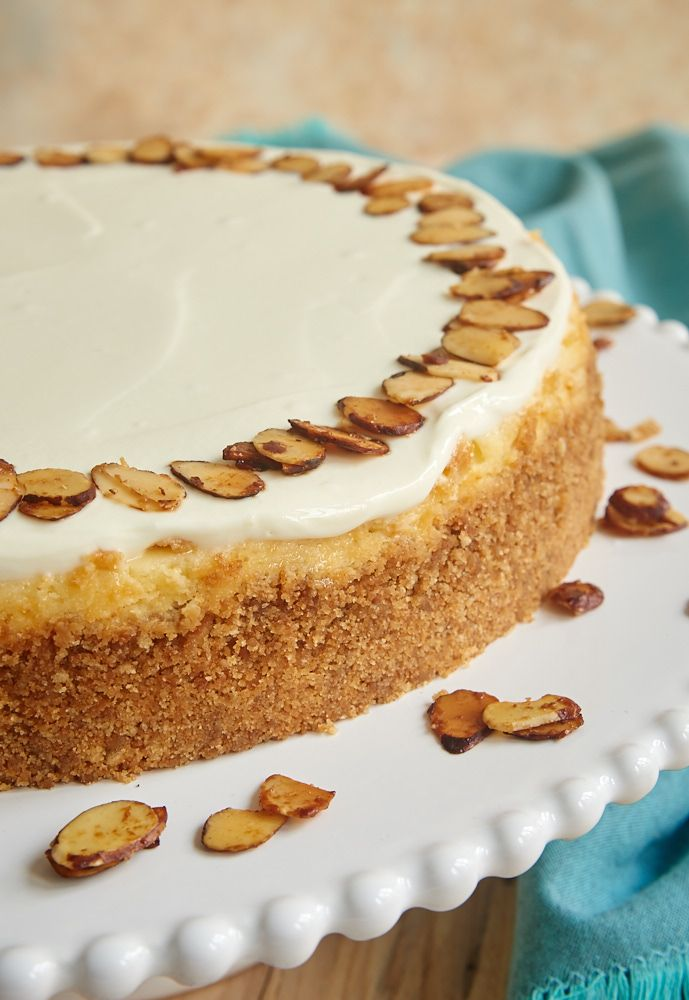 Amaretto Cheesecake is such a beautiful, delicious, impressive dessert. If you love almond desserts, you must try this one! - Bake or Break ~ http://www.bakeorbreak.com